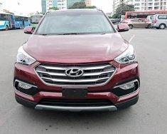 Bán Hyundai Santa Fe 2018 2.4AT máy xăng, màu đỏ, giao ngay trả góp 90% giá 1 tỷ 170 tr tại Tp.HCM